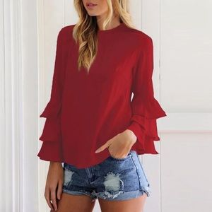 ❤️ - - Fall Trend Tiered arm blouse top